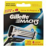 Carga de Aparelho para Barbear Mach3 Gillette Caixa Leve 8 Pague 6 Unidades