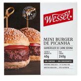 Hambúrguer de Carne Bovina Picanha Wessel Caixa 240g 6 Unidades