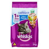 Alimento para Gatos Castrados Adultos 1+ Peixe Whiskas Pacote 3kg