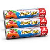 Saco para Alimentos Freezer-Roll 3 litros 100 Unidades com 3 Rolos