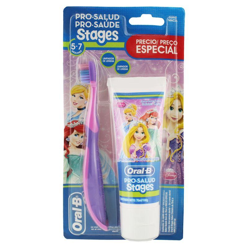 Kit-Escova---Creme-Dental-Infantil-com-Fluor-Frutas-Silvestres-Princesas-Toy-Story-Oral-B-Stages-100g