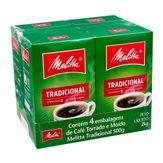Café Torrado e Moído Tradicional Melitta Pack com 4 Unidades 500g Cada