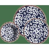 Aparelho de Jantar em Porcelana Decorado Azul Kuthaya Caixa 18 Unidades