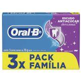 Creme Dental Menta Suave Escudo Antiaçúcar Oral-B Pack com 3 Unidades 70g Cada