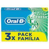 Creme Dental Extra Fresh Oral-B Pack com 3 Unidades 70g Cada