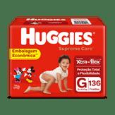 Fralda Descartável Infantil Supreme Care G Huggies Pacote com 136 Unidades
