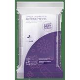 Lenços Umedecidos Antissépticos Onecare Pack com 6 pacotes 15 Unidades Cada