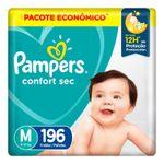 Fralda-Descartavel-Infantil-Confort-Sec-M-Pampers-Pacote-com-196-Unidades-Pacote-Economico