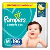 Fralda Descartável Infantil Confort Sec M Pampers Pacote com 196 Unidades Pacote Econômico