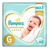 Fralda Descartável Infantil Premium Care G Pampers Pacote com 68 Unidades