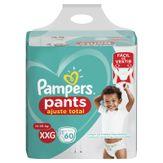 Fralda Descartável Infantil Pants Ajuste Total XXG Pampers Pacote com 60 Unidades